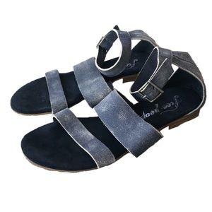 Free People Blue Crowe Distressed Sandal